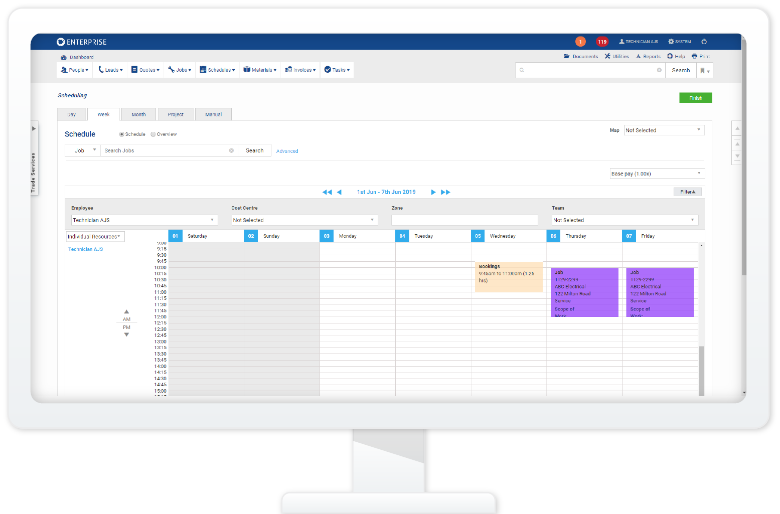simPRO Microsoft Outlook 365 calendar sync for field service scheduling