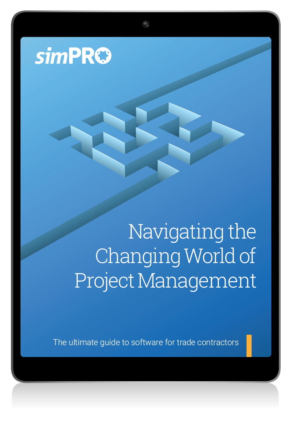 IPad displaying the simPRO eBook, Navigating the changing world of project management