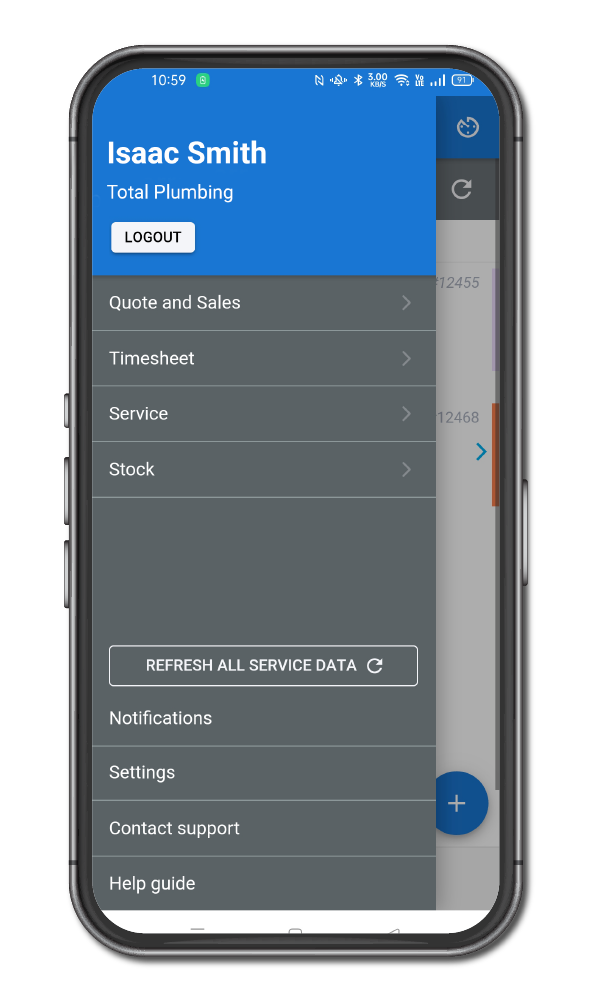 New menu in simPRO mobile including stock module