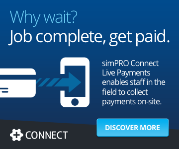 Why wait? Job complete, get paid. simPRO Connect Live Payments enables staff in the field to collect payments on-site.
