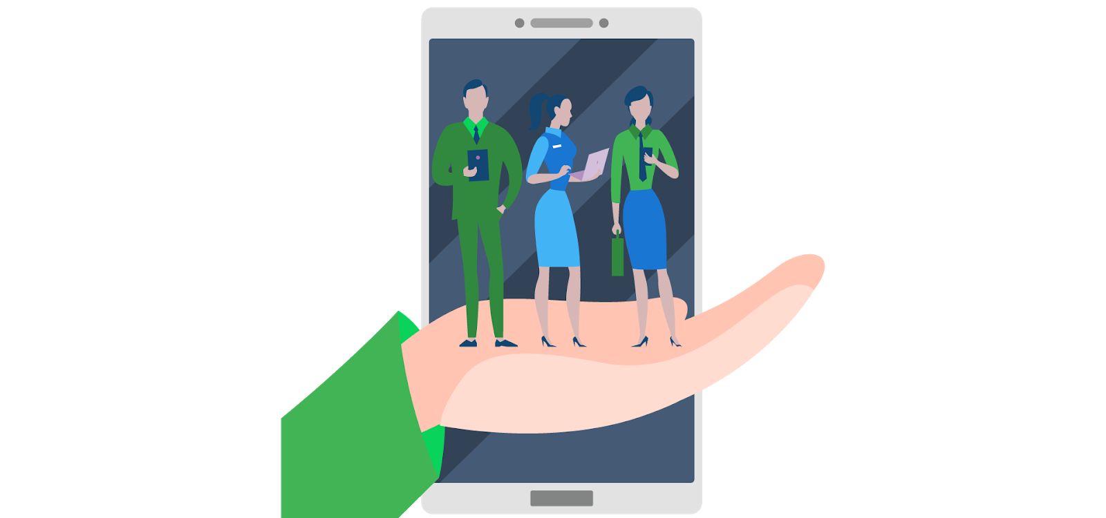 corporate workers and mobile devices montage illustration