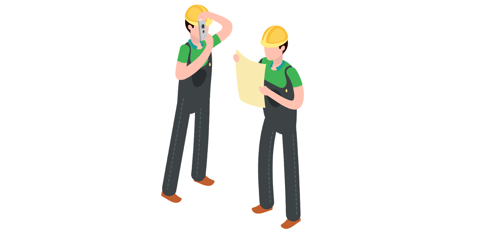 illustration of on-site workers using technology