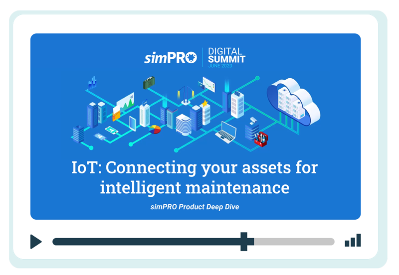 Screenshot of the cover page from the simPRO IoT presentation.