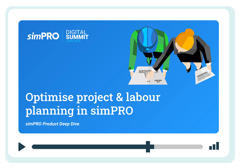 Screenshot of the cover page from a simPRO product deep dive presentation.