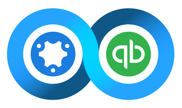 The simPRO and QuickBooks integration logo
