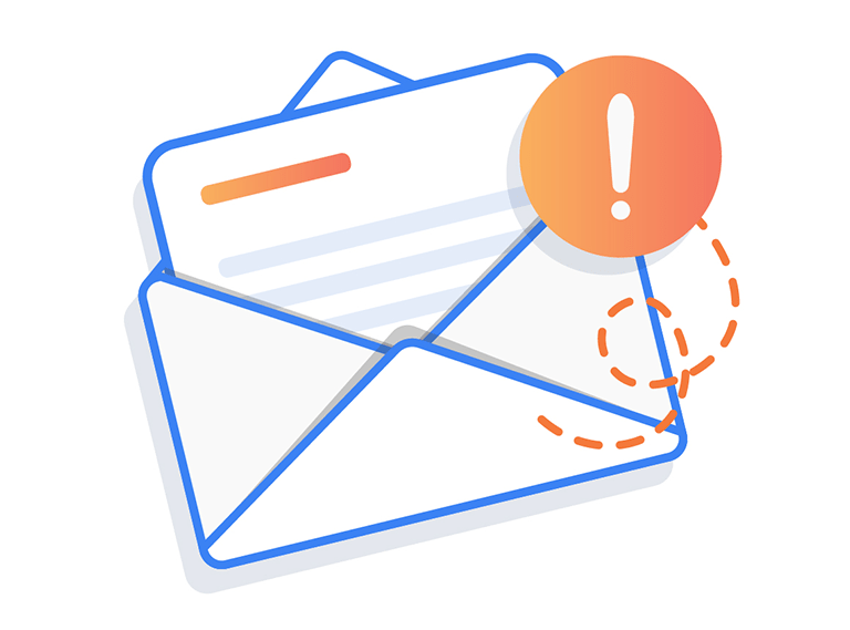 illustration of open envelope with notification icon