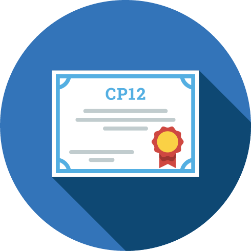CP12 certificate icon in a blue circle