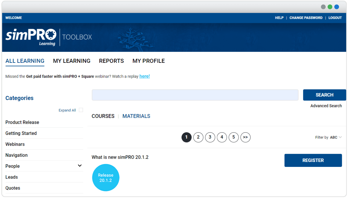 A screenshot of the first page of the simPRO Learning Toolbox showing different courses and learning materials.