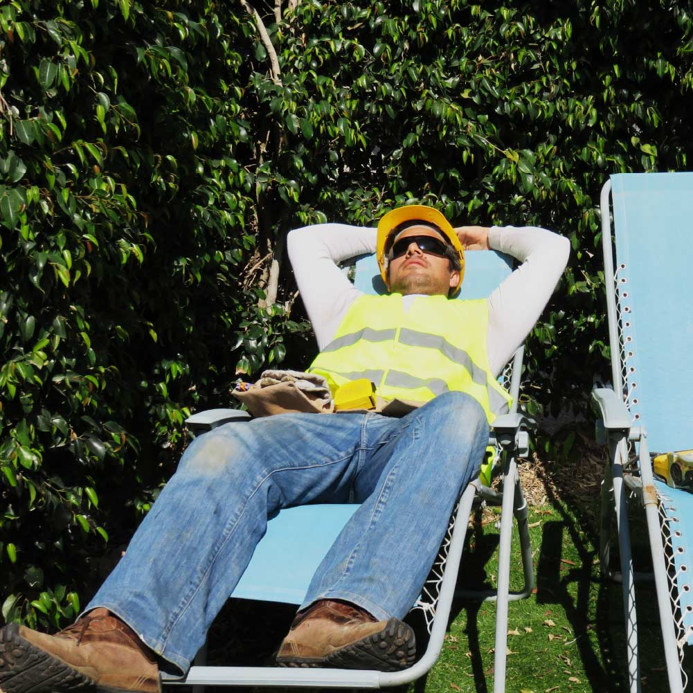field service worker relaxing in deck chair