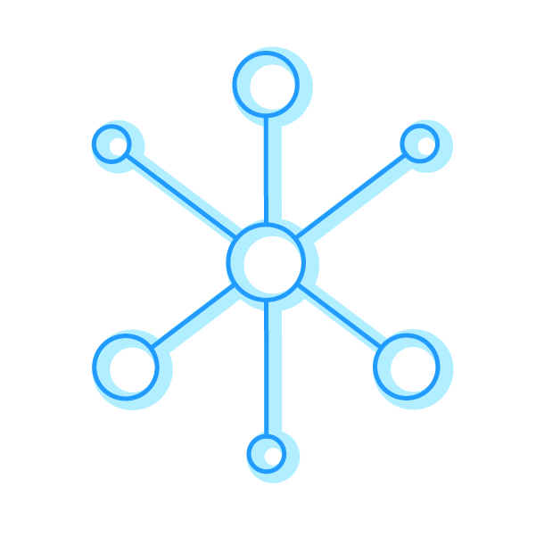 A icon displaying multiple circles connected with lines