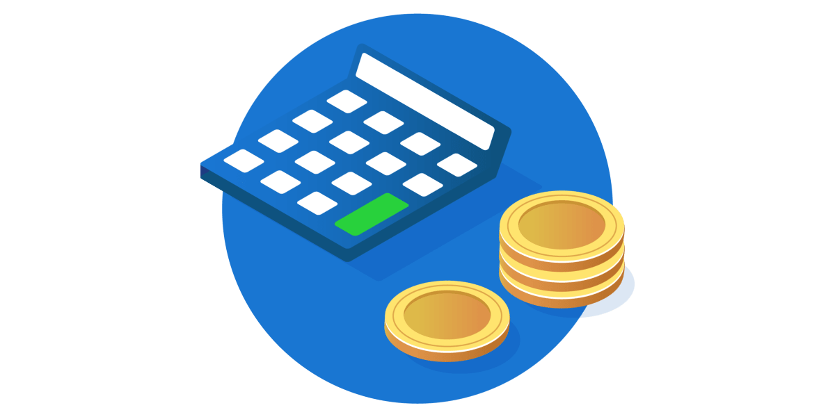 Estimating and budgeting costs with calculator and coins