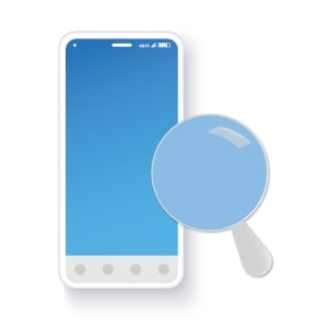Magnifying glass focussed over a blue mobile phone screen