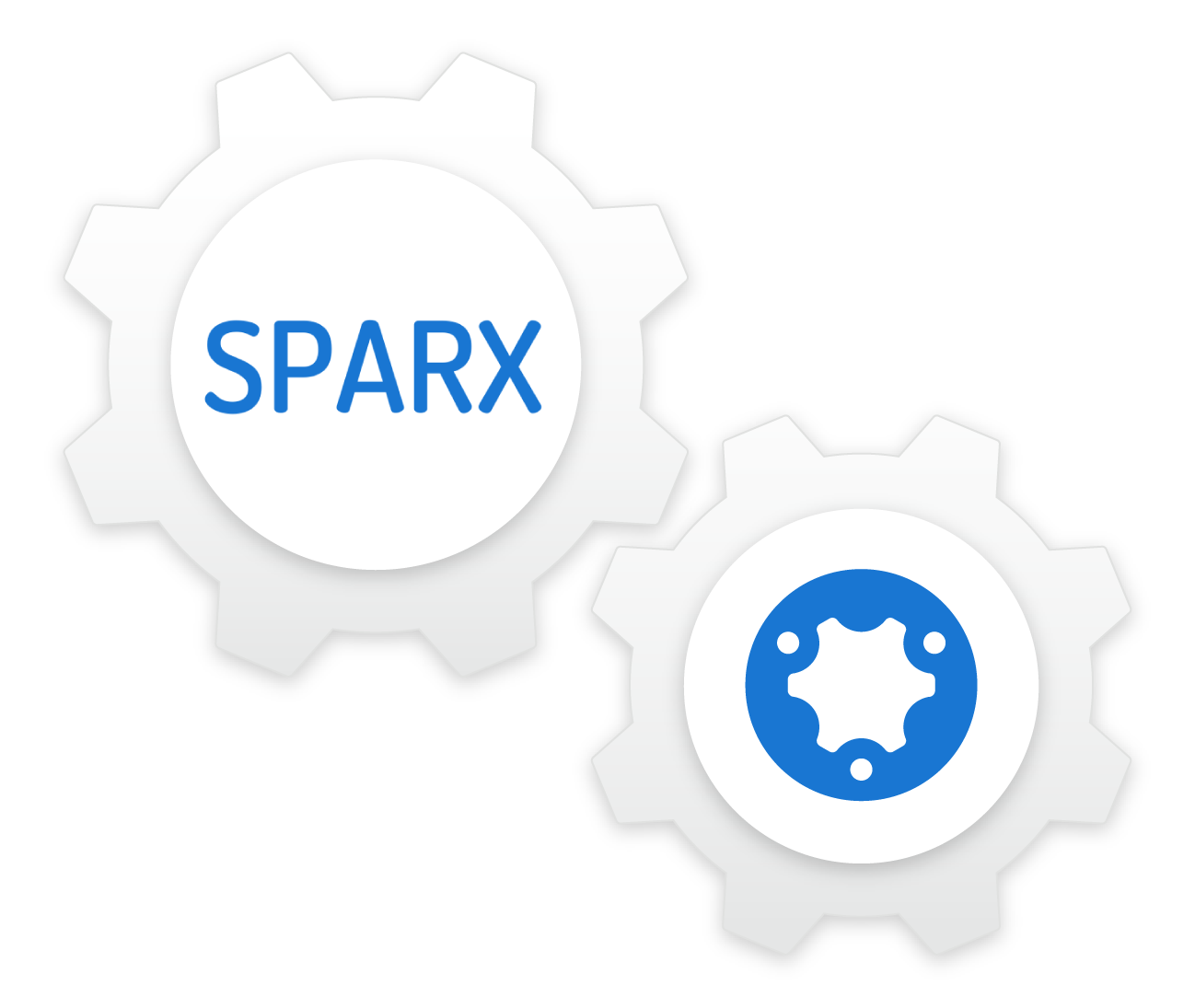 simPRO and SPARX logos integrating as gears