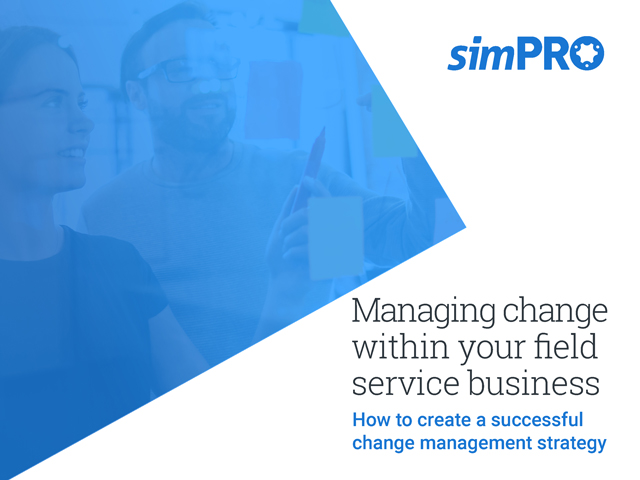 The cover page of the simPRO eBook titled, Managing change in your field service business