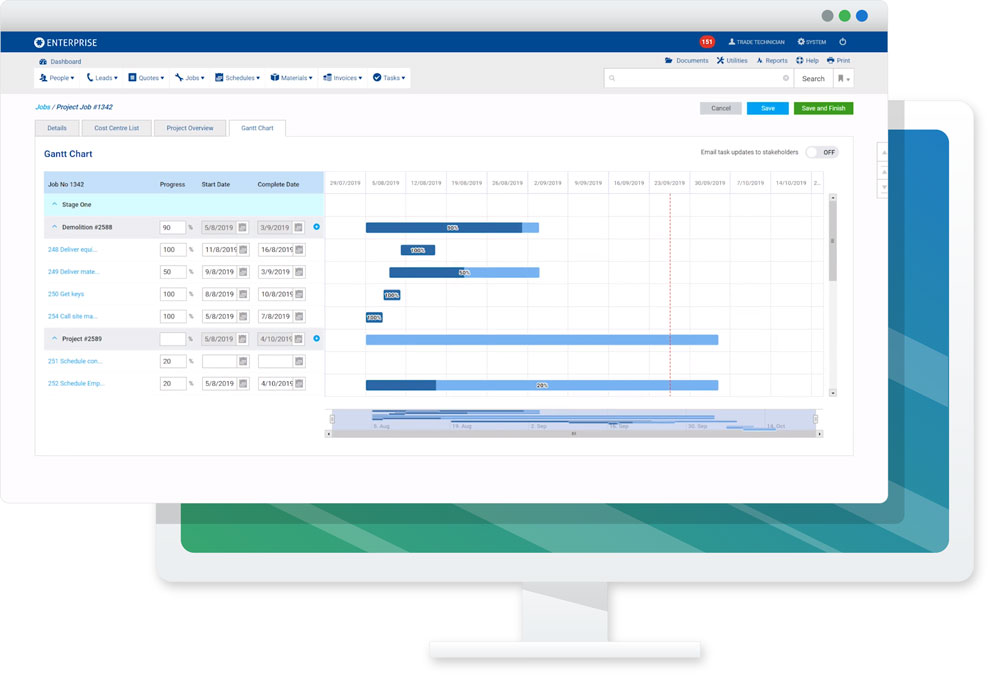simPRO Gantt Chart screenshot
