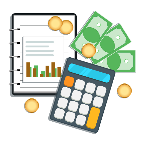 Illustration of accounting reports, calculator and money