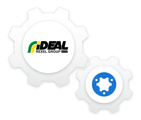 Illustration of simPRO and Ideal Electrical logos as connected gears and cogs