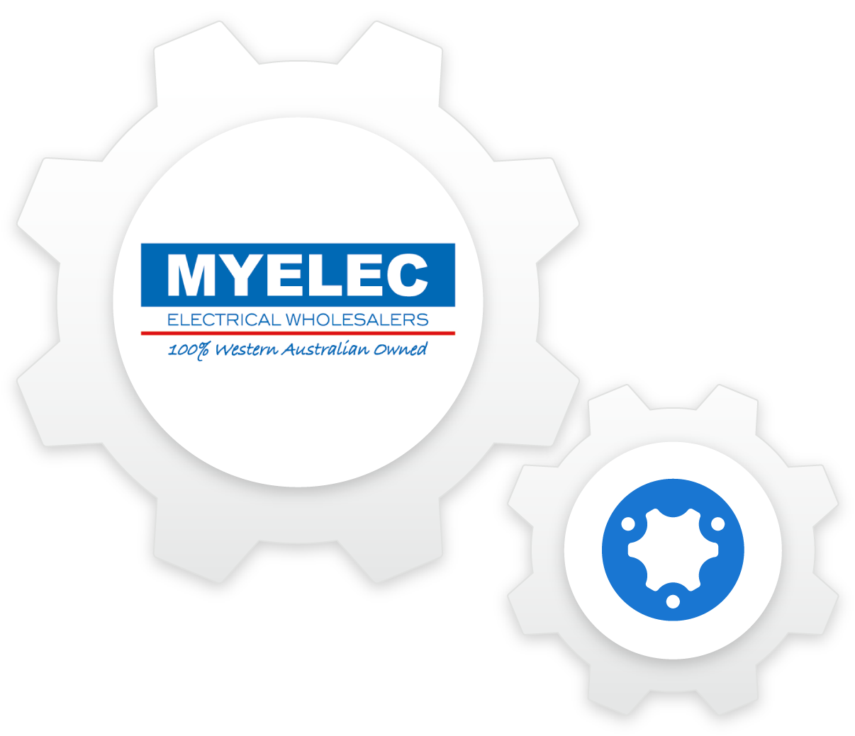 simPRO and MYELEC logos integrated into working cog pieces.