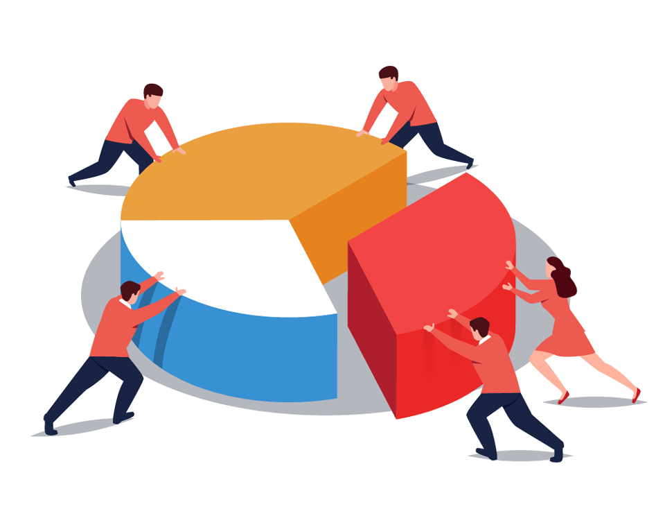 5 people working together on pie chart illustration
