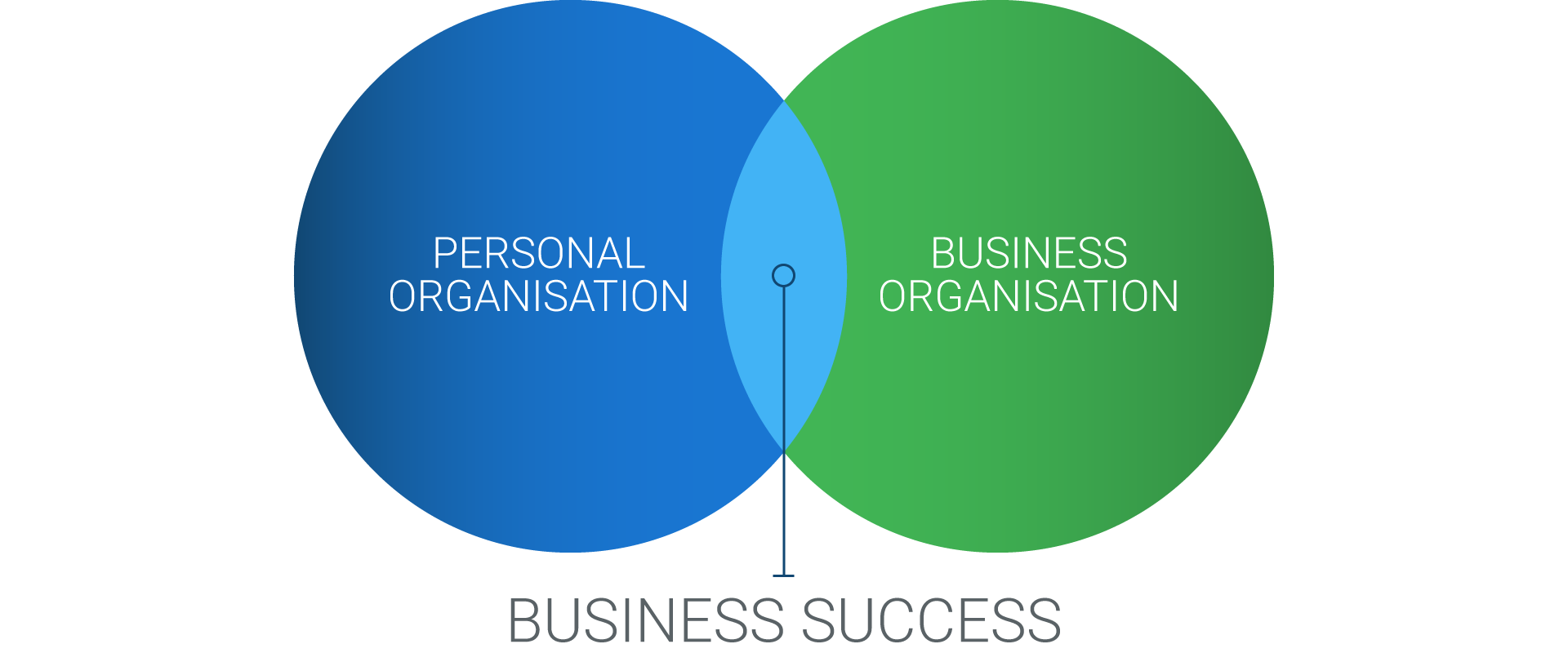 Business Success graphic - Personal Organisation/Business Organizations venn diagram