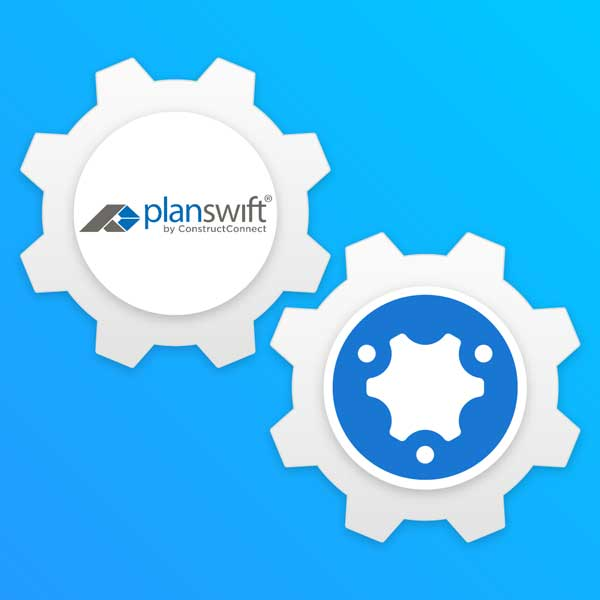 simPRO and PlanSwift turning together as gears