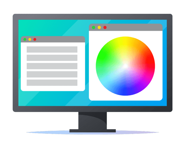 illustration of computer screen displaying colour wheel