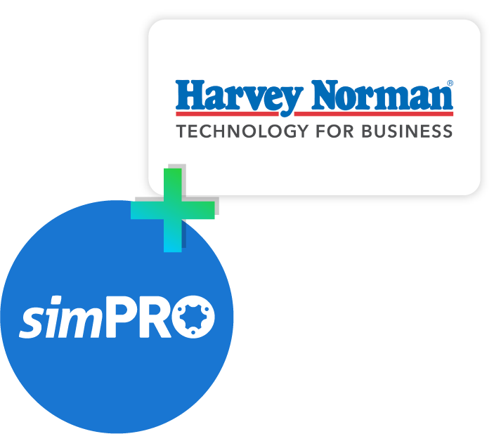 simPRO and Harvey Norman logo composition