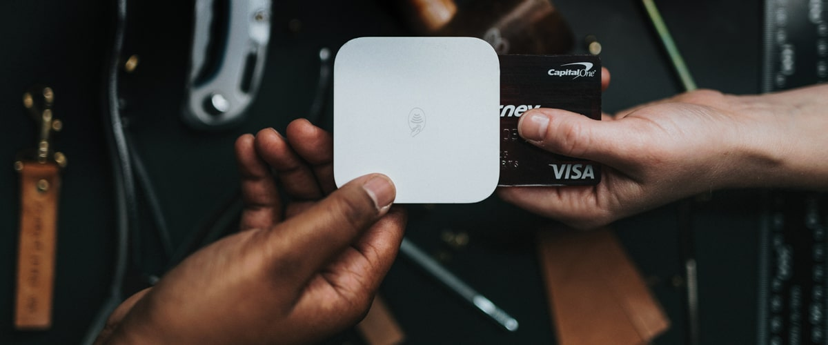 Image of payment being made with square