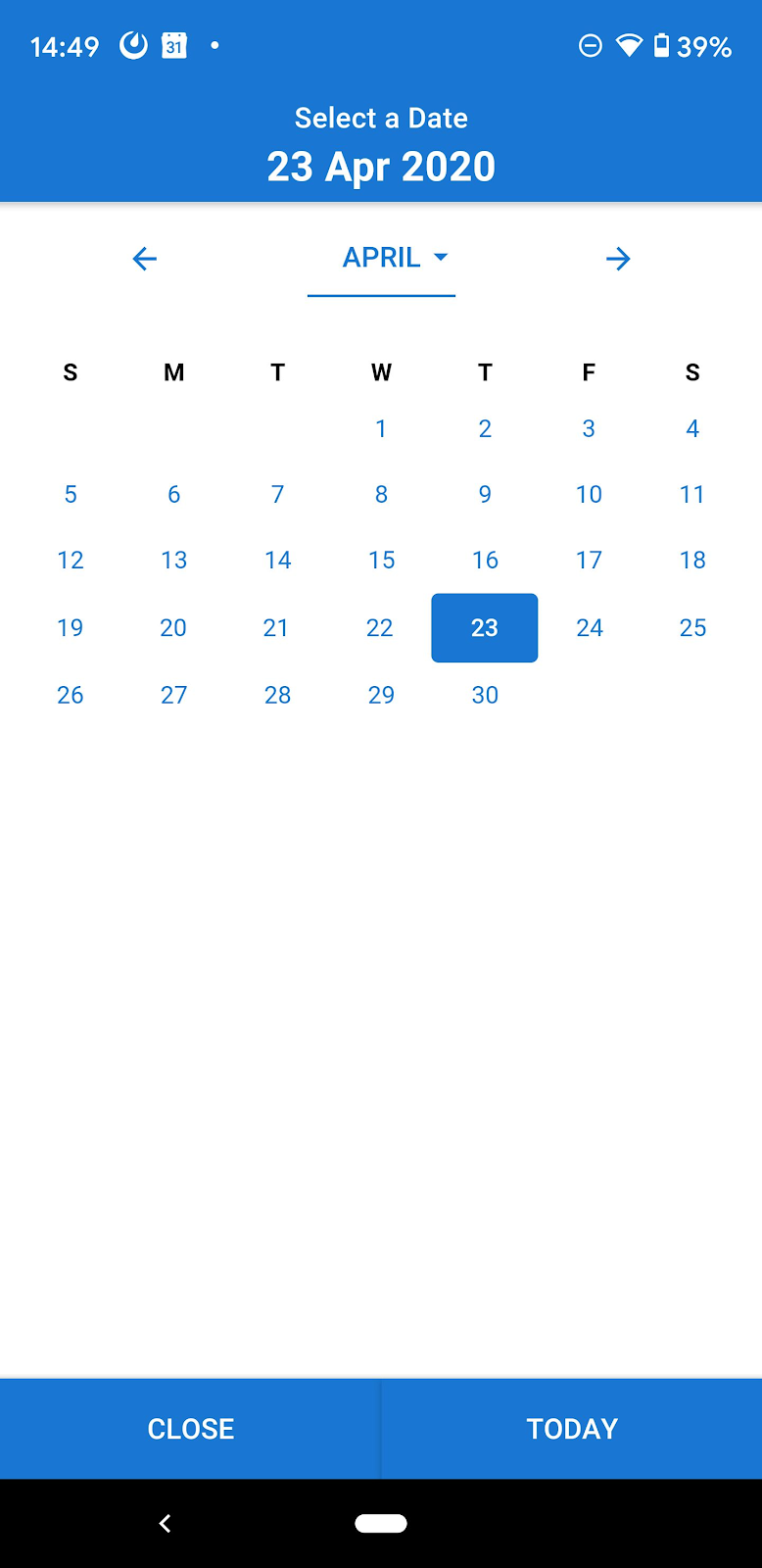 simPRO Mobile smart calendar screenshot