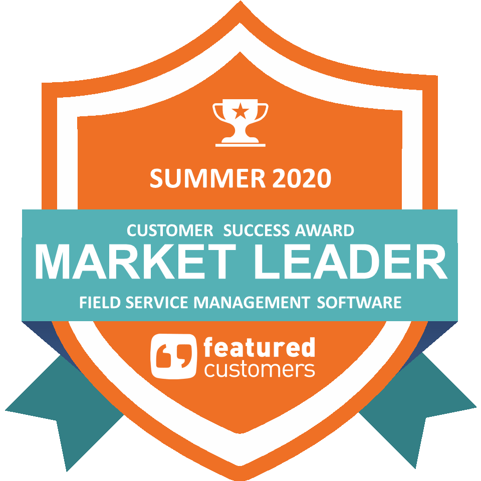 A badge from FeaturedCustomers showcasing simPRO's designation as a Market Leader in the Summer 2020 Customer Success Report.