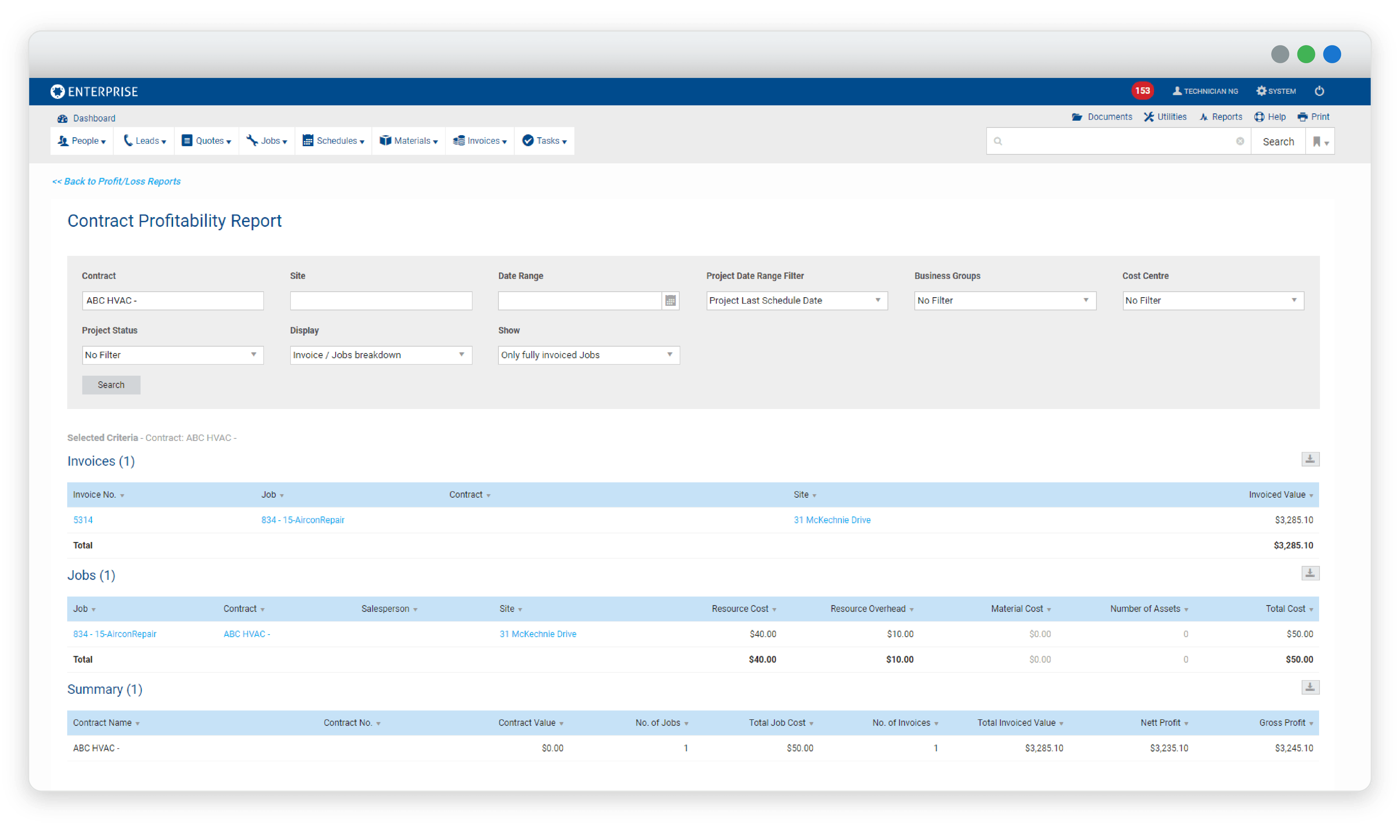 simPRO screenshot - contract profitability report