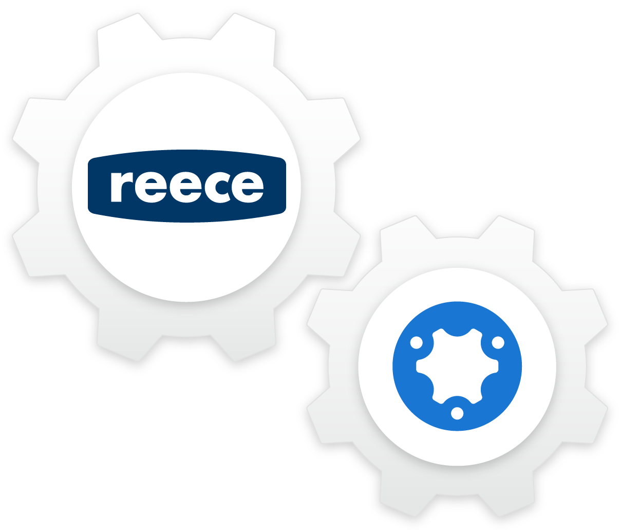 Illustration of simPRO and Reece logos in connected cogs.