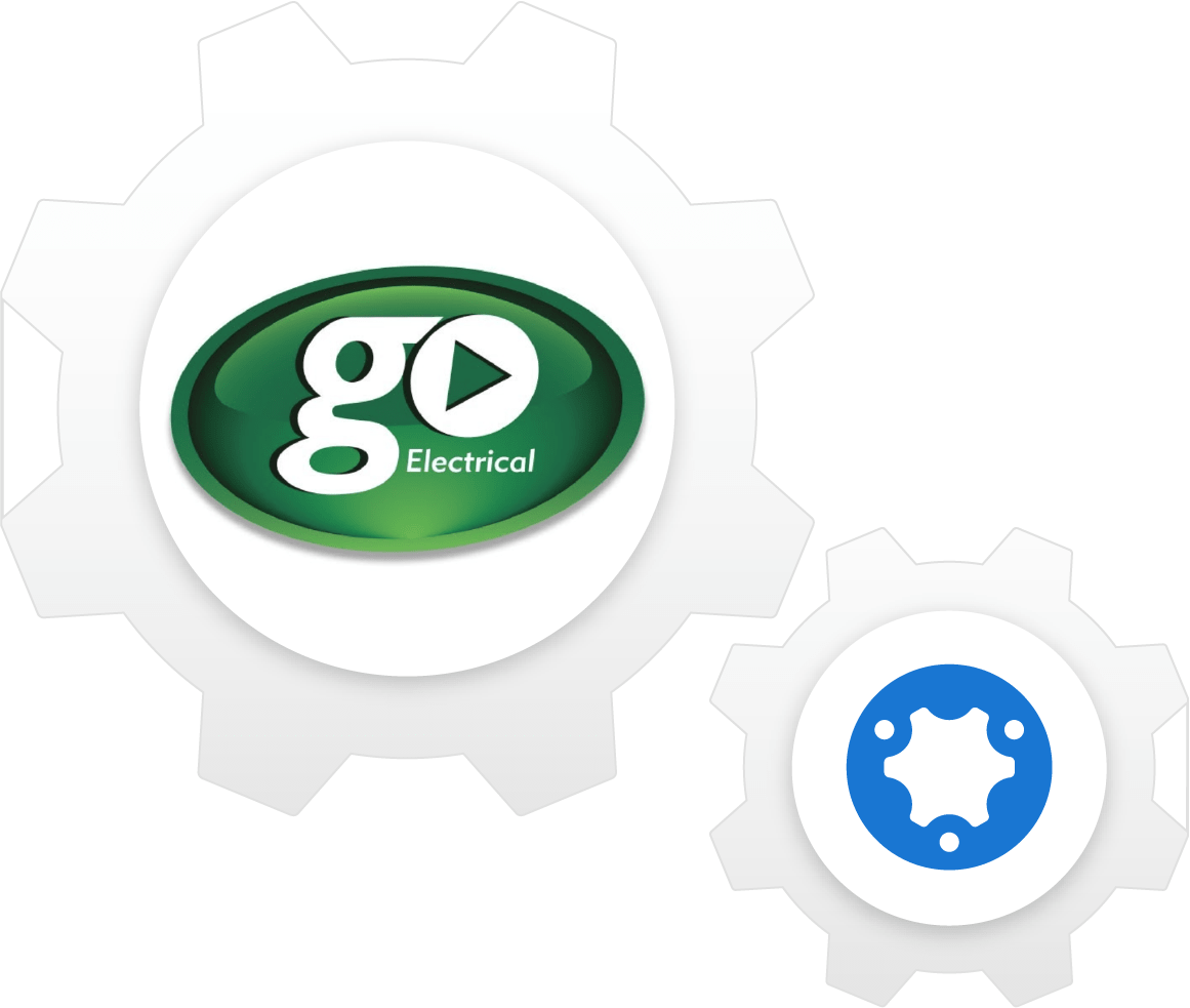 simPRO and GO Electrical logos in cogs composition