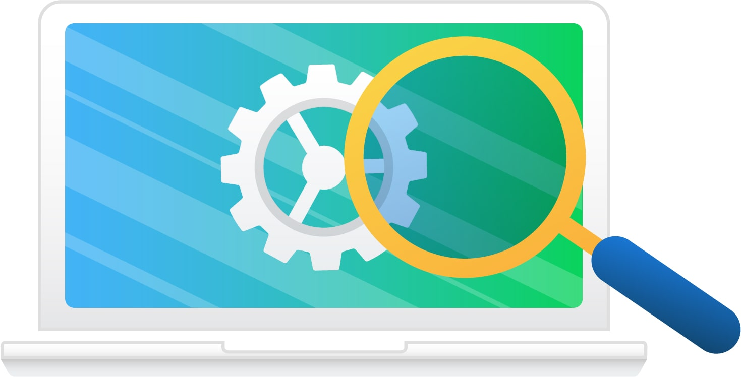 Job management represented by a laptop with a cog on the screen and magnifying glass