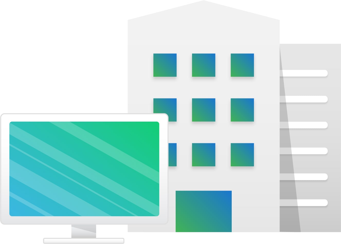 In-office job management software represented by an office building and desktop computer