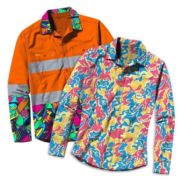 Trademutt 'conversation starter' workwear. Orange fluorescent shirt and Yellow, Pink Blue patterned shirt.