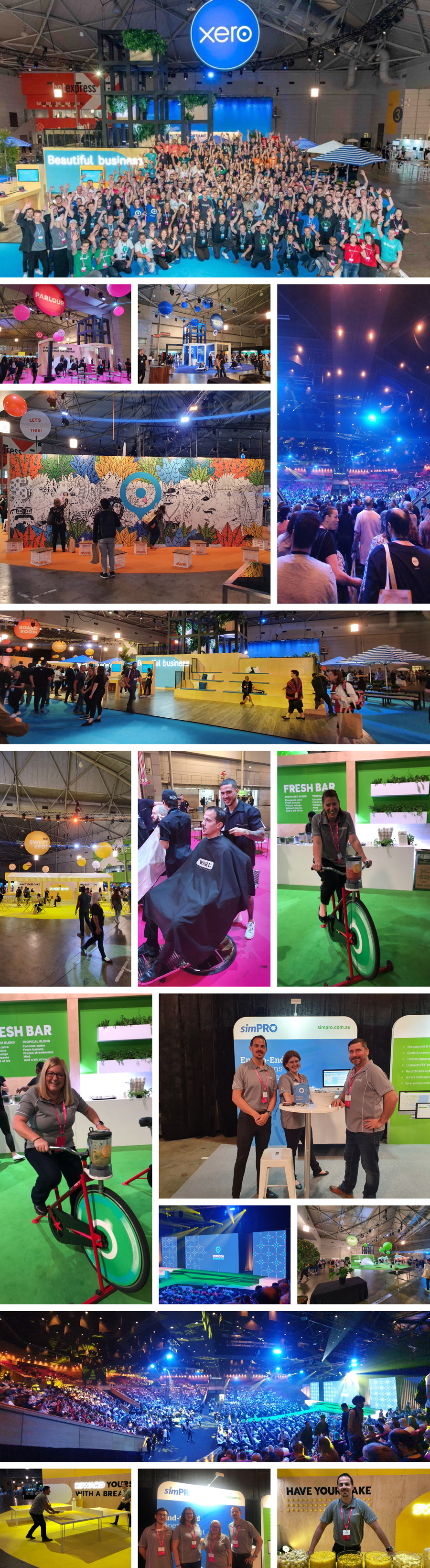 Xerocon 2019 collage, simPRO employees at the convention