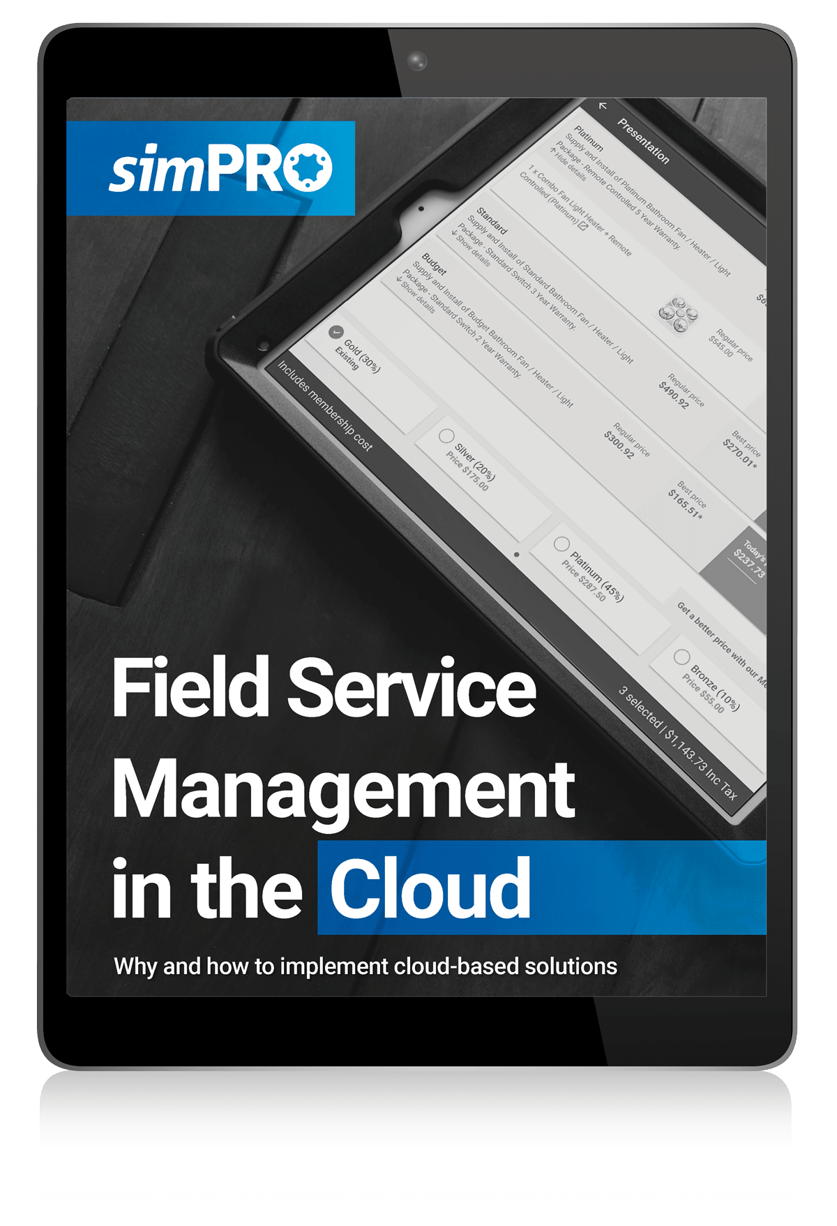 simPRO Field Service Management in the Cloud eBook on tablet device